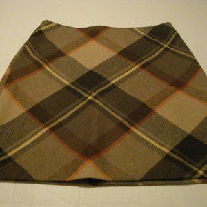 Talbots Wool blend lined skirt Size 10 Brown Plaid